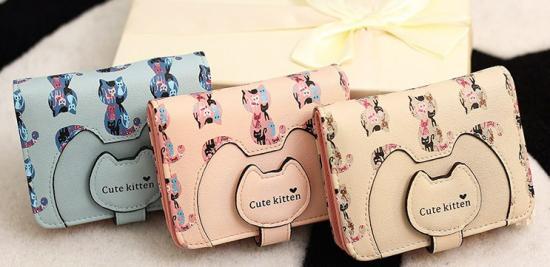 猫 雑貨 レディース 財布 キュートな猫モチーフ 二つ折り財布 ラウンドファスナー ネコ デザイン【送料無料】