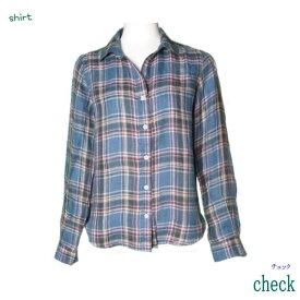 清涼感のある麻100%素材長袖シャツ♪シンプル リネン シャツ♪ レディース/ファッション/