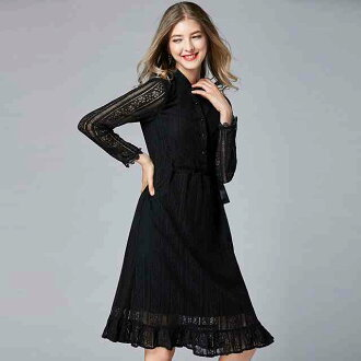 The long sleeves figure cover grosgrain ribbon which there is a party dress big size middle wedding ceremony one-piece dress knee-length party dress wedding ceremony dress invite dress four circle one-piece dress second party concert presentation class r