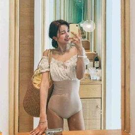 水着 レディース 水着 体型カバー ビキニ ビキニ 人気 盛れる レトロ 痩せて見える 10代 20代 30代 プール 海 温泉 ハイウエスト フリル オフショルダー ギャザー ワンピース ストライプ SNS映え オトナ女子 小胸 半袖