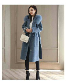 コート レディース ロングコート アウター ジャケット 上着 大きいサイズ 秋 冬 メルトン ウール 細見え 暖かい 着痩せ 体型カバー 袖あり 長袖 お出かけ デート キレイめ ウエスト絞り 上品 通勤 OL フォーマル お呼ばれ ファー フード