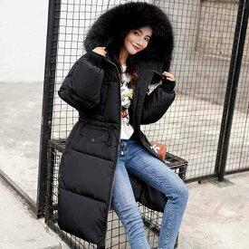 ダウンコート レディース ロング ダウン コート ダウンジャケット アウター 上着 大きいサイズ 防寒 細見え 暖かい 着痩せ 体型カバー 袖あり 長袖 キレイめ お出かけ デート フード付き ジップ ファスナー 無地 ファー ウエストマーク