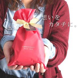 [プレゼント]ギフトラッピングサービス 色が選べる マット素材ナイロンバッグ レッド&ブラウン GIFTPAUCH[贈り物 プレゼント 手渡し 誕生日 お祝い] exc0
