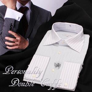 [個性と大人の色気 ダブルカフスシャツ] ダブルカフス ドレスシャツ ワイドカラー ワイシャツ 襟高デザイン 長袖 メンズ Yシャツ カフス フォーマル ビジネス 結婚式 パーティ 2次会 カッタ