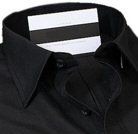レギュラーカラー 長袖ワイシャツ メンズ 長袖 ワイシャツ Yシャツ 形態安定(トップ芯加工)ビジネス 結婚式[黒 黒シャツ ブラック レギュラーカラー 無地 スリム 大きいサイズ 制服 通勤 カッターシャツ ドレスシャツ S・M・L・LL・3L ユニフォーム][あす楽]