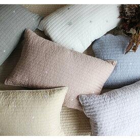 new 星の刺繍 イブル 枕カバー 約40×60cm ※星が散らばってみえるように刺繍の配置をリニューアル