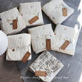 プレミアムイブル 刺繍のおむつ替えマット ビンテージおむつ替えマット 防水マット 裏面防水(約45×70cm) 刺繍 ビンテージ TRICK HOLIC トリックホリック