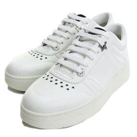 【メンズもOK!!】【レディース大きめサイズ】 ジミーチュウ JIMMY CHOO レディーススニーカー メンズサイズ 25cm 白スニーカー ブランドスニーカー ブランドロゴ HAWAII F CLF 193 X WHITE ホワイト系 shoes-01 uni-01