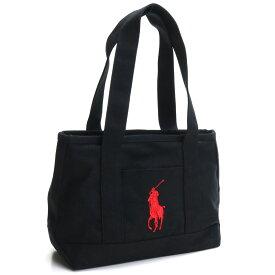 ラルフローレン RALPH LAUREN ミディアム トートバッグ キャンバストート RAS10154A BLACK/RED ブラック レッド系 ファスナー付き トートバック tote BAG レディース ブランドバッグ