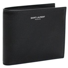 サンローラン SAINT LAURENT コンパクト財布 2つ折り財布 396303 0U90N 1000 ブラック メンズ【キャッシュレス 5% 還元】 gsm-2