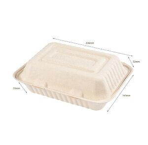 バガス フードパック 200入り 業務用 レンジOK ランチボックス使い捨て 紙容器 紙トレイ 環境優しい 食品容器 テイクアウト 容器