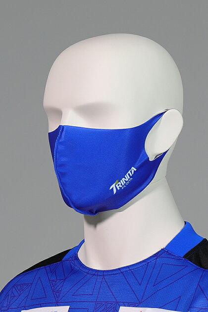 大分トリニータ快適素材の洗えるマスク(青)ロゴ着用2
