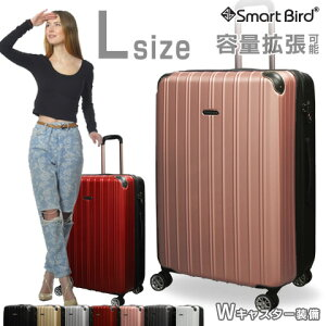 スーツケース Lサイズ 無料受託手荷物OK 3辺158cm以内/157cm 超軽量 ダブルファスナー 容量拡張 ダブルキャスター TSA キャリーケース キャリーバッグ 旅行カバン 旅行バッグ LL級 大型 100リット