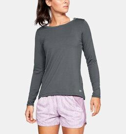 アンダーアーマー レディース ロンT Under Armour HeatGear Armour Long Sleeve Shirt Tシャツ 長袖 Pitch Gray Light Heather