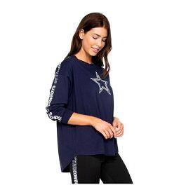 """即納 レディース NFL """"Dallas Cowboys"""" Womens Jaiden Oversized Long Sleeve T-Shirt Tシャツ 長袖 NAVY"""