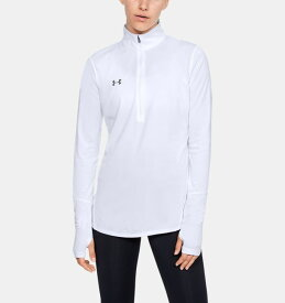 アンダーアーマー レディース ロンT Under Armour Locker ? Zip Long Sleeve Shirt Tシャツ 長袖 White/Elemental Light Heather