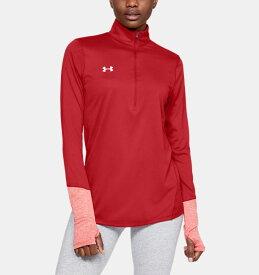 アンダーアーマー レディース ロンT Under Armour Locker ? Zip Long Sleeve Shirt Tシャツ 長袖 Red / White