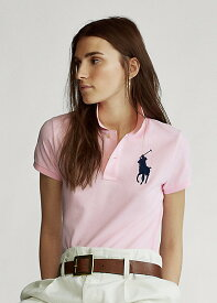 ポロ ラルフローレン レディース Polo Ralph Laure Skinny Fit Big Pony Polo Shirt ポロシャツ 半袖 Country Club Pink
