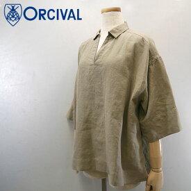 【15%OFF】 Orcival【オーチバル】リネンクロス スキッパーカラーシャツ Lady's【RC-3704 YLM】【楽ギフ_包装】【楽ギフ_メッセ入力】