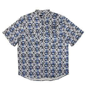 d8965b2f4a8 【2019SUMMER】LEFLAH(レフラー) ヘビ柄ノーカラーシャツ (BLUE) 半袖
