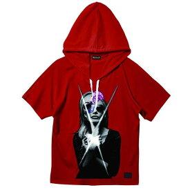【セール/SALE-30】ZEPHYREN(ゼファレン) DOLMAN BIG HOODY S/S RED 半袖パーカー ビッグフーディ フード付きTシャツ