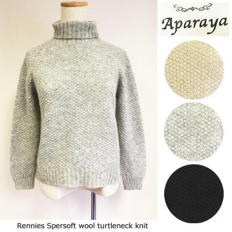 Aparaya(アパラヤ)British WOOL タートルネックニット セーター wool100% (Rennies Spersoft)ハイネック ウール APF173002