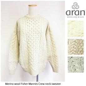 Aran Woollen Mills(アランウーレンミルズ)メリノウール フィッシャーマンズクルーネックニット/Merino wool 100% Fisher Mannes Crew neck sweater/ローゲージ/アランセーター/ナチュラル/キャレイグドン/CARRAIG DONN/アランニット
