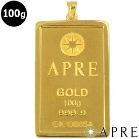 【新品】 24金 純金 インゴット ペンダントトップ 100g ゴールドバー APRE GOLD BER 枠シルバー