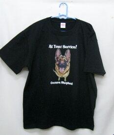 ジャーマンシェパード柄の半袖Tシャツです(フェイス)