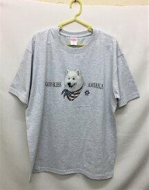 サモエド柄の半袖Tシャツです(バンダナ)ドッグ 犬プリント 記念品 オフ会 プレゼント ギフト オーナーズグッズ 犬種別