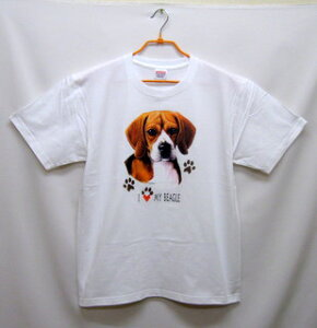 ビーグル (ハート) tシャツ 半袖 カットソー 丸首型 クルーネック 綿100% コットン トップス 服 レディース メンズ シンプル かわいい おしゃれ イベント お揃い ドッグ 犬 犬柄 いぬ 犬プリン