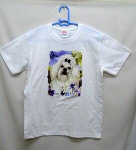 マルチーズ (お花) tシャツ 半袖 カットソー 丸首型 クルーネック 綿100% コットン トップス 服 レディース メンズ シンプル かわいい おしゃれ イベント お揃い ドッグ 犬 犬柄 いぬ 犬プリン
