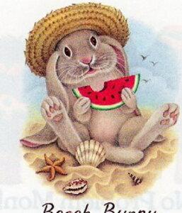 ウサギ&スイカ (05−L) ラビット tシャツ 半袖 カットソー 丸首型 クルーネック 綿100% コットン トップス 服 レディース メンズ シンプル かわいい おしゃれ イベント お揃い 動物 オーナーグ
