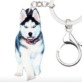 キーホルダー シベリアンハスキー ハスキーグッズ アクリル 犬 いぬ イヌ dog 犬種別 犬雑貨 オーナーグッズ かわいい 輸入 キーチェーン プリント 父の日