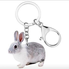 ウサギ ラビット キーホルダー うさぎグッズ アクリル 兎雑貨 オーナーグッズ かわいい 輸入 キーチェーン プリント