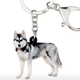 シベリアンハスキー キーホルダー ハスキーグッズ アクリル 犬 いぬ イヌ dog 犬種別 犬雑貨 オーナーグッズ かわいい 輸入 キーチェーン プリント 父の日