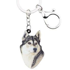 シベリアンハスキー キーホルダー ハスキーグッズ アクリル 犬 いぬ イヌ dog 犬種別 犬雑貨 パピー オーナーグッズ かわいい 輸入 キーチェーン プリント 父の日