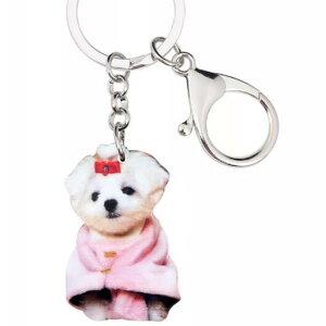 マルチーズ キーホルダー マルグッズ アクリル 犬 いぬ イヌ dog 犬種別 犬雑貨 パピー オーナーグッズ かわいい 輸入 キーチェーン プリント クリスマス