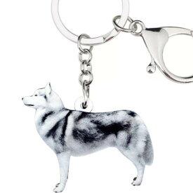 シベリアンハスキー キーホルダー ハスキーグッズ アクリル 犬 いぬ イヌ dog 犬種別 犬雑貨 オーナーグッズ かわいい 輸入 キーチェーン 鍵 車 プリント 父の日