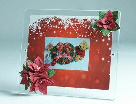 【ポイント20倍】クリスマスプレゼントに!! マグパチ フォトフレーム クレイアートフラワー(台紙付)2L判-ワイドサイズ /クリスマス/写真立て/2L/フォトフレーム/プレゼント/ギフト
