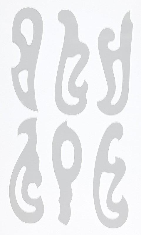 雲形定規 アクリル製 6枚組 サイズ18x5.5cmx1mm厚 【DM便で送料無料】