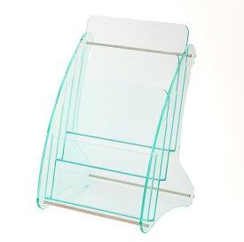 日本製 高級 ガラス色アクリル製 卓上カタログスタンド パンフレットスタンド A4判1列3段 カタログケース