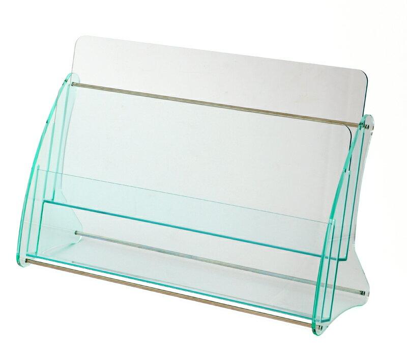 日本製 高級 ガラス色アクリル製 卓上カタログスタンド パンフレットスタンド A4判2列2段 カタログケース