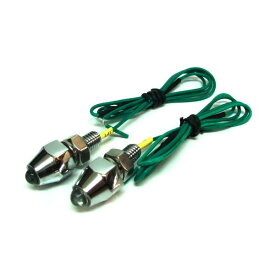 ナンバーボルトタイプのLEDランプ! LEDピンポイントランプ(緑) 2個セット 12V/24V共用タイプ