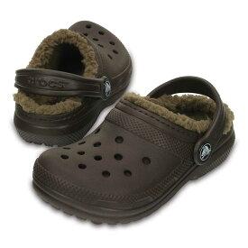 [マラソン中ポイント5倍][クロックス] crocs 203506 キッズ ジュニア | クロッグサンダル | classic lined clog kids | クラシック ラインド クロッグ キッズ | 子供靴 男の子 女の子 | エスプレッソ×カーキ SP