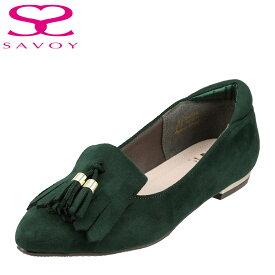 サボイ SAVOY パンプス SA94006 レディース 靴 靴 シューズ E相当 アーモンドトゥ パンプス ポインテッドトゥ カジュアル ローヒール 歩きやすい タッセル フラットシューズ グリーン SP