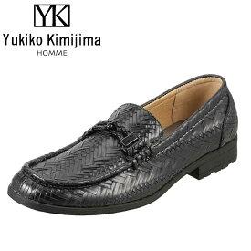 ユキコキミジマオム Yukiko Kimijima スリッポン YK241 メンズ 靴 シューズ 3E相当 ローファー スリッポン 幅広 クッション性 履きやすい 歩きやすい ストリート おしゃれ ブラック SP