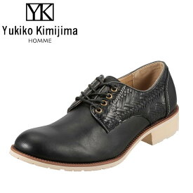 ユキコキミジマオム Yukiko Kimijima スリッポン YK240 メンズ 靴 シューズ 3E相当 レースアップシューズ カジュアル 幅広 ストリート おしゃれ 大きいサイズ対応 28.0cm ブラック SP