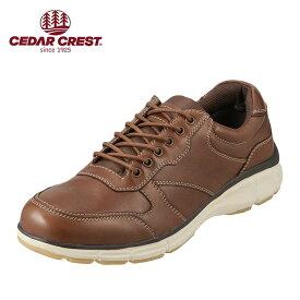 セダークレスト CEDAR CREST ウォーキングシューズ CC-1850 メンズ靴 靴 シューズ 3E相当 ウォーキングシューズ 本革 ローカットスニーカー 幅広 クッション性 小さいサイズ対応 24.5cm ブラウン SP