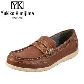 ユキコキミジマオム Yukiko Kimijima カジュアルシューズ YK243 メンズ靴 靴 シューズ 3E相当 スリッポン ローファー 軽量 幅広 ローカット 紳士靴 アメカジ おしゃれ ダークブラウン SP